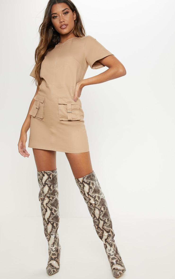 Camel Utility Pocket Shift Dress 1