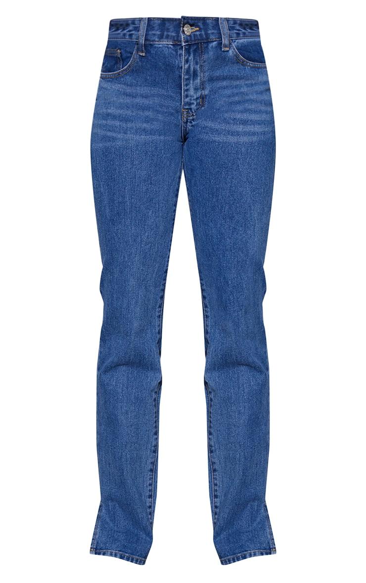 Tall Mid Blue Low Rise Split Hem Jeans 5