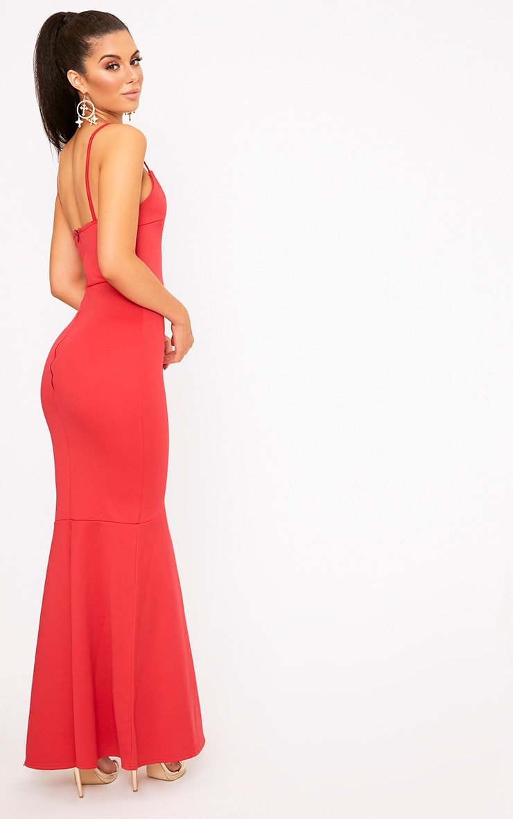 Red Plunge Fishtail Maxi Dress 2