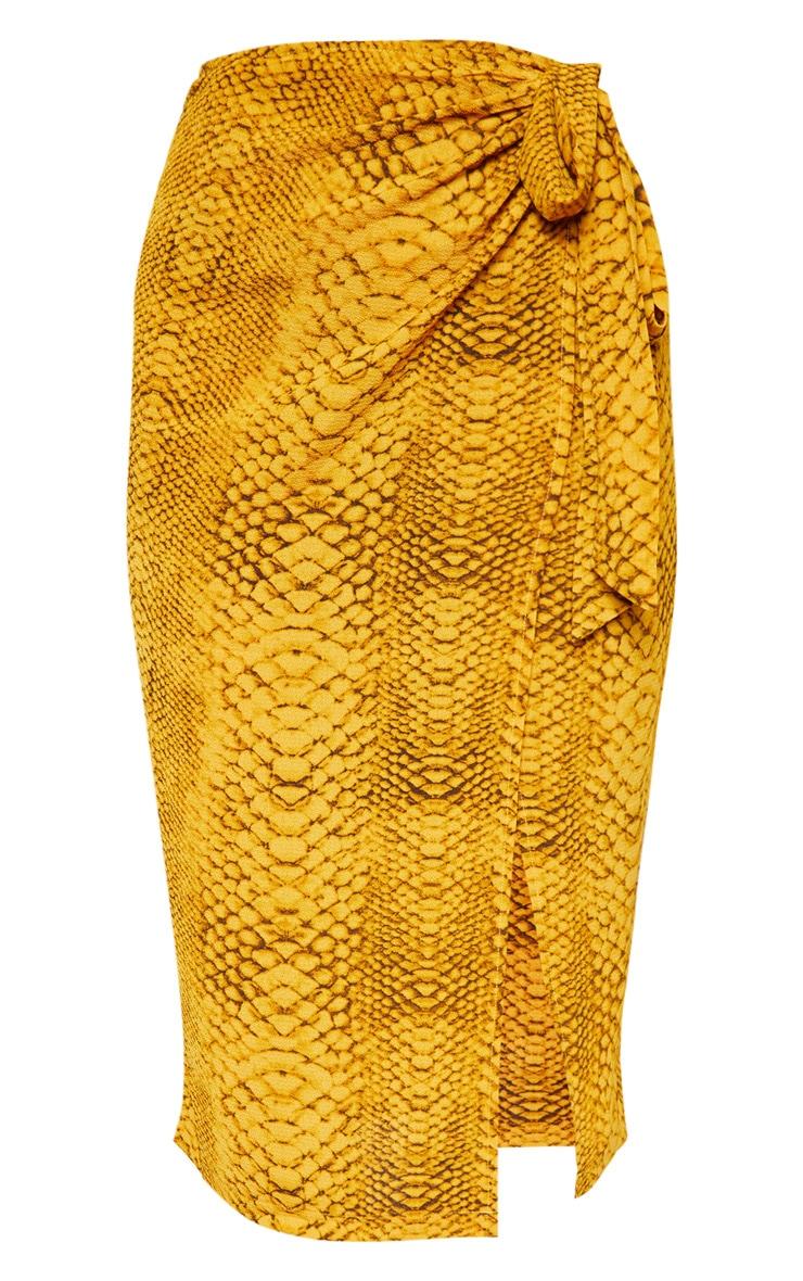 Mustard Snake Print Tie Side Midi Skirt 3