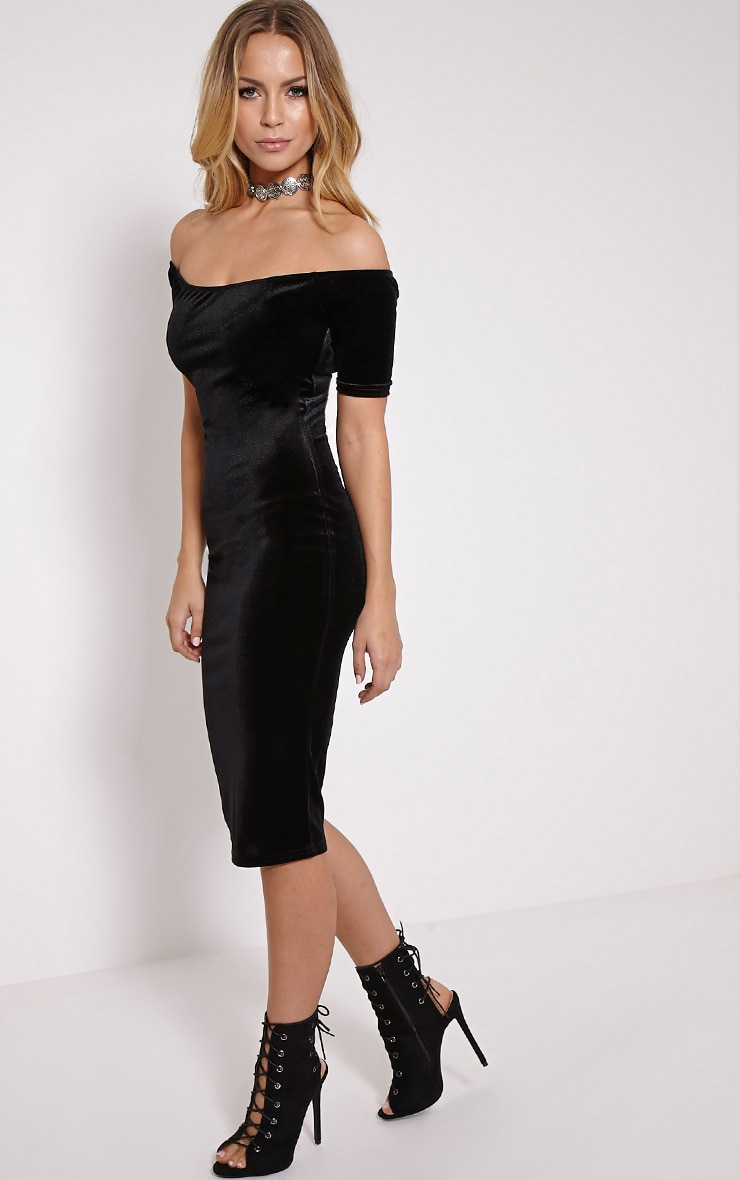 Leonie Black Velvet Bardot Midi Dress 3