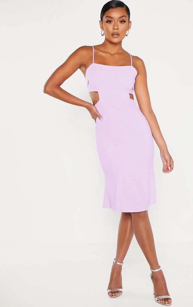 Lilac Scuba Crepe Tie Back Midi Dress 2