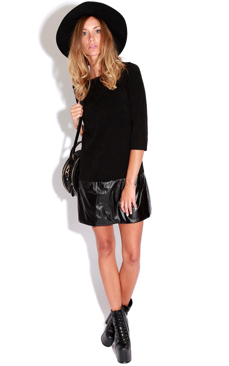 Emily Black PU Panel Shift Dress 3