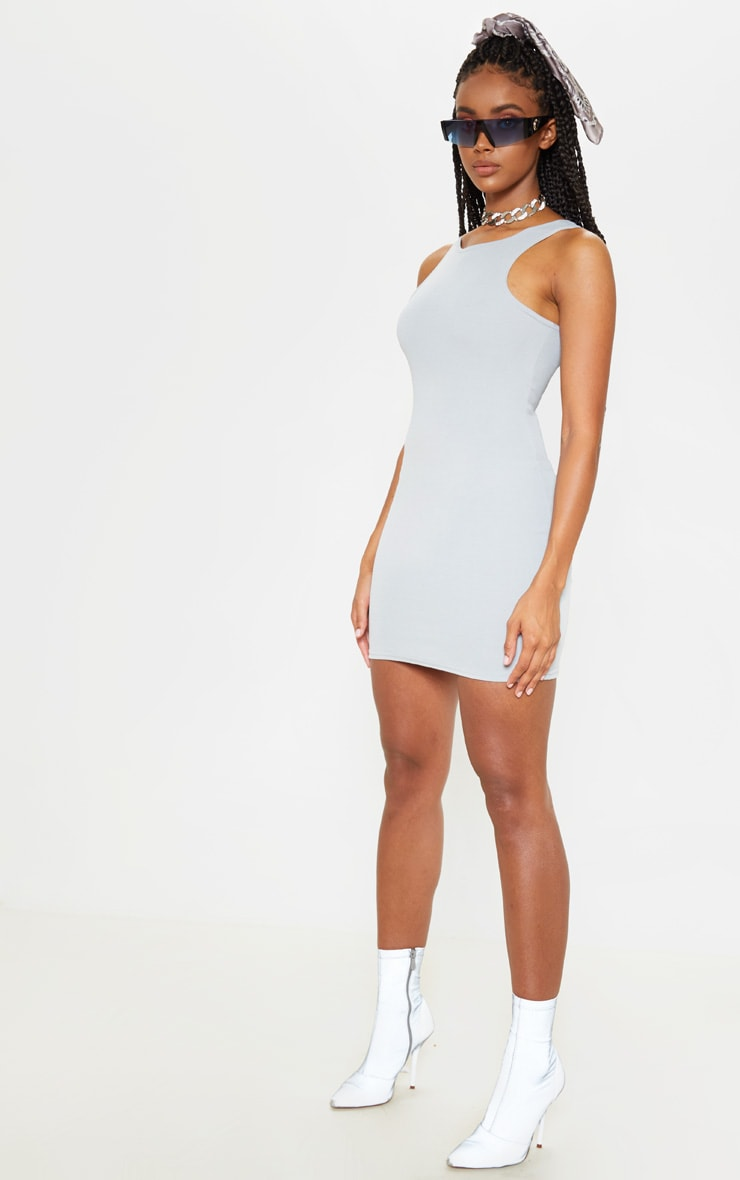 Grey Racer Neck Crepe Bodycon Dress 1