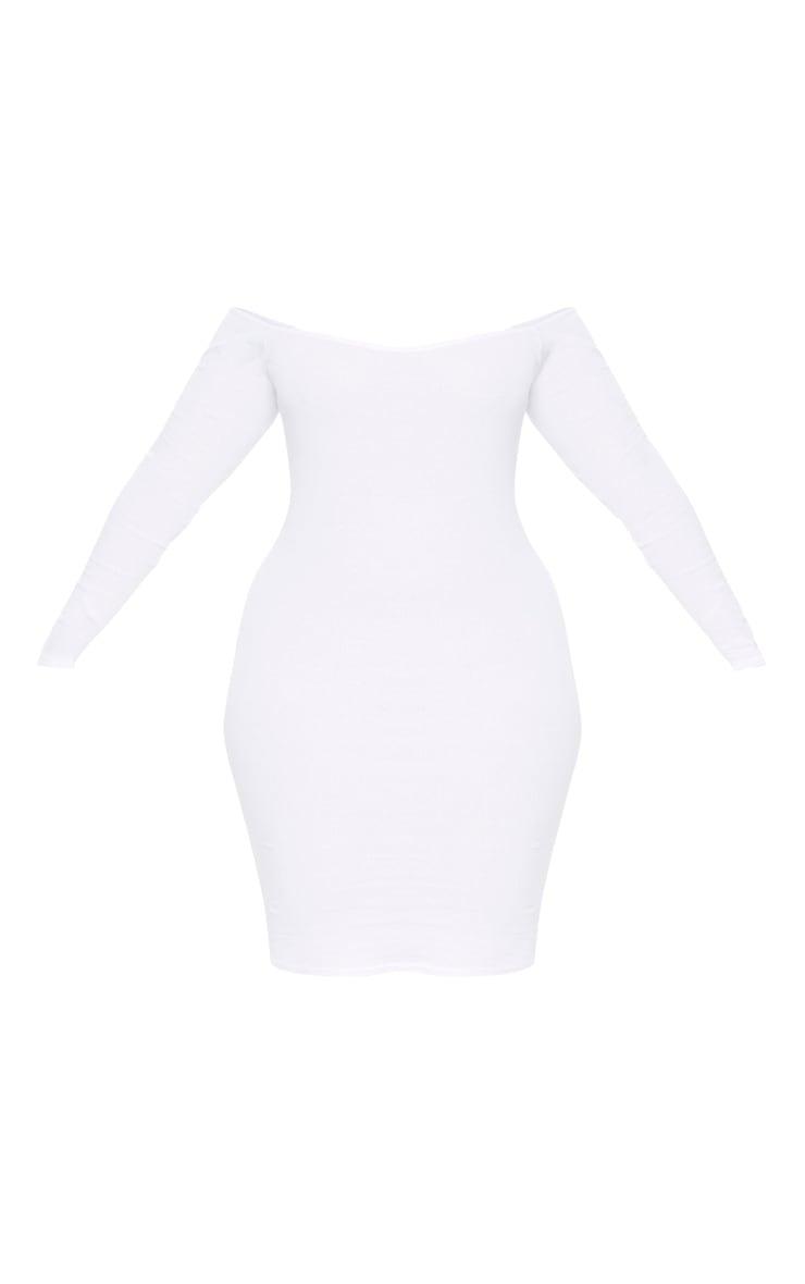 Plus Second Skin White Bardot Ribbed Long Sleeve Midi Dress 3