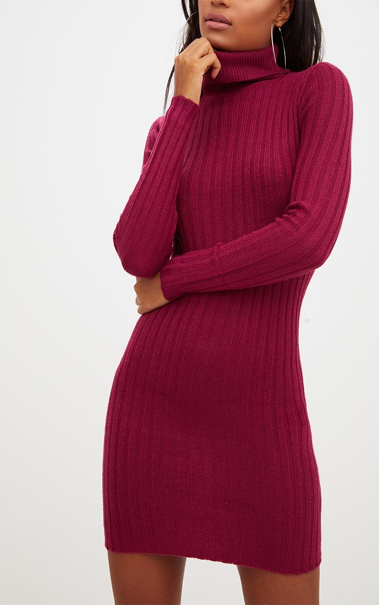 Burgundy Rib Roll Neck Dress 5