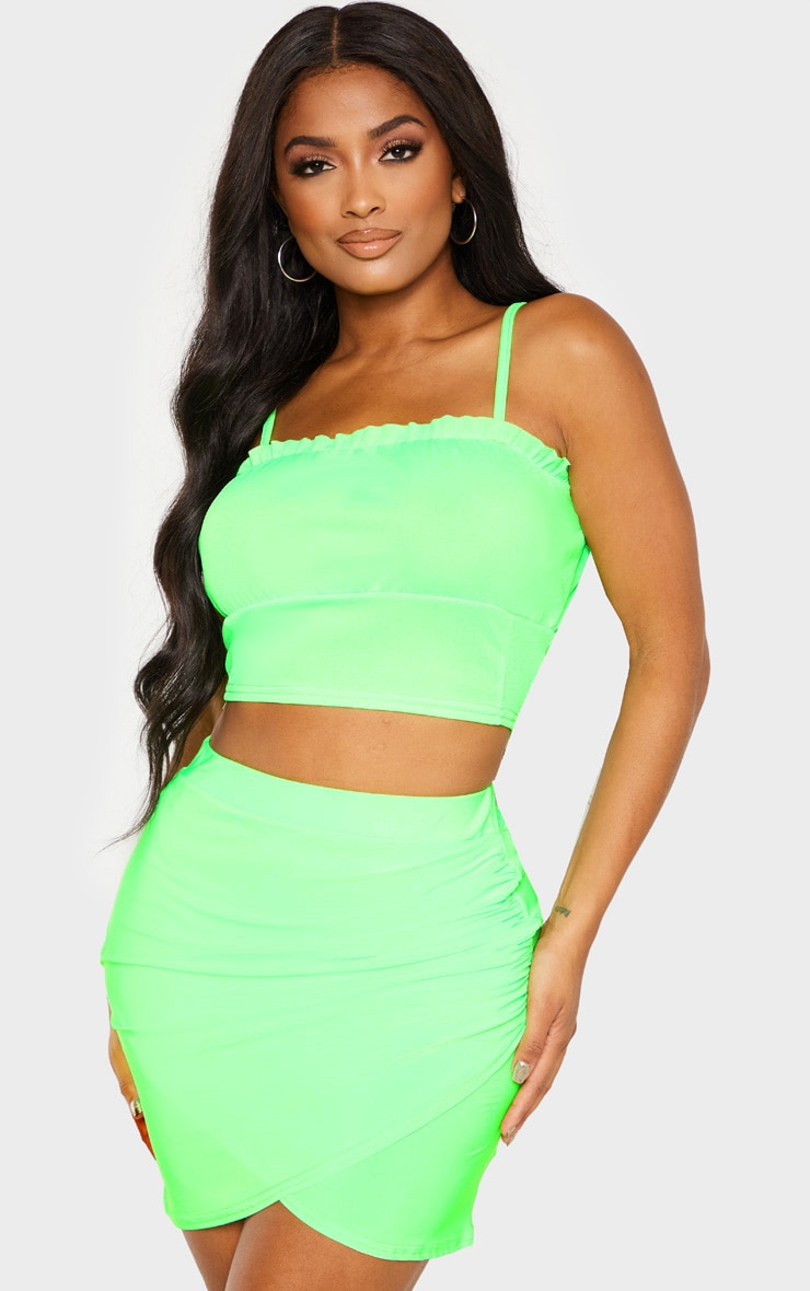 Strappy bodycon neon dress lime front ruched shop online