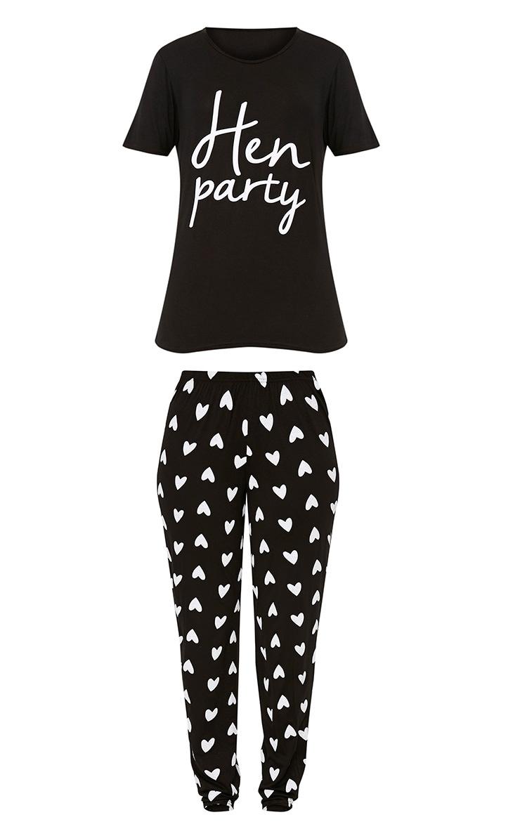 Black Hen Party Slogan Long PJ Set 3