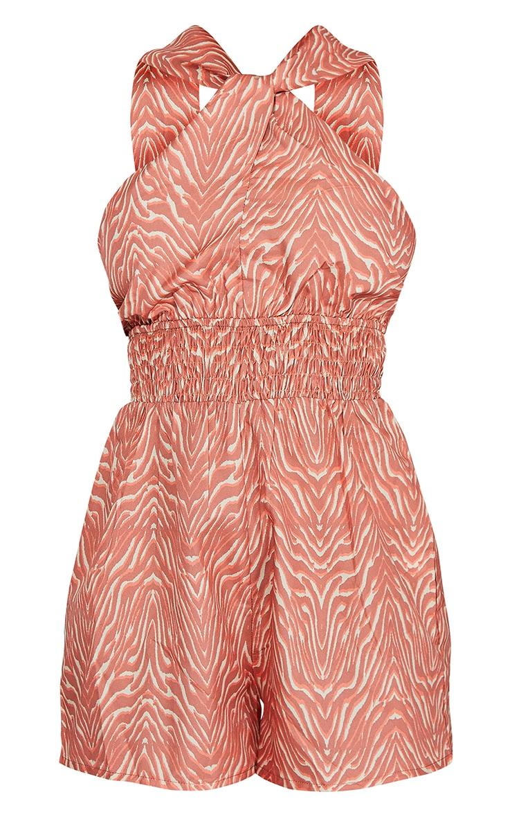 Peach Zebra Print Twist Neck Shirred Romper 5