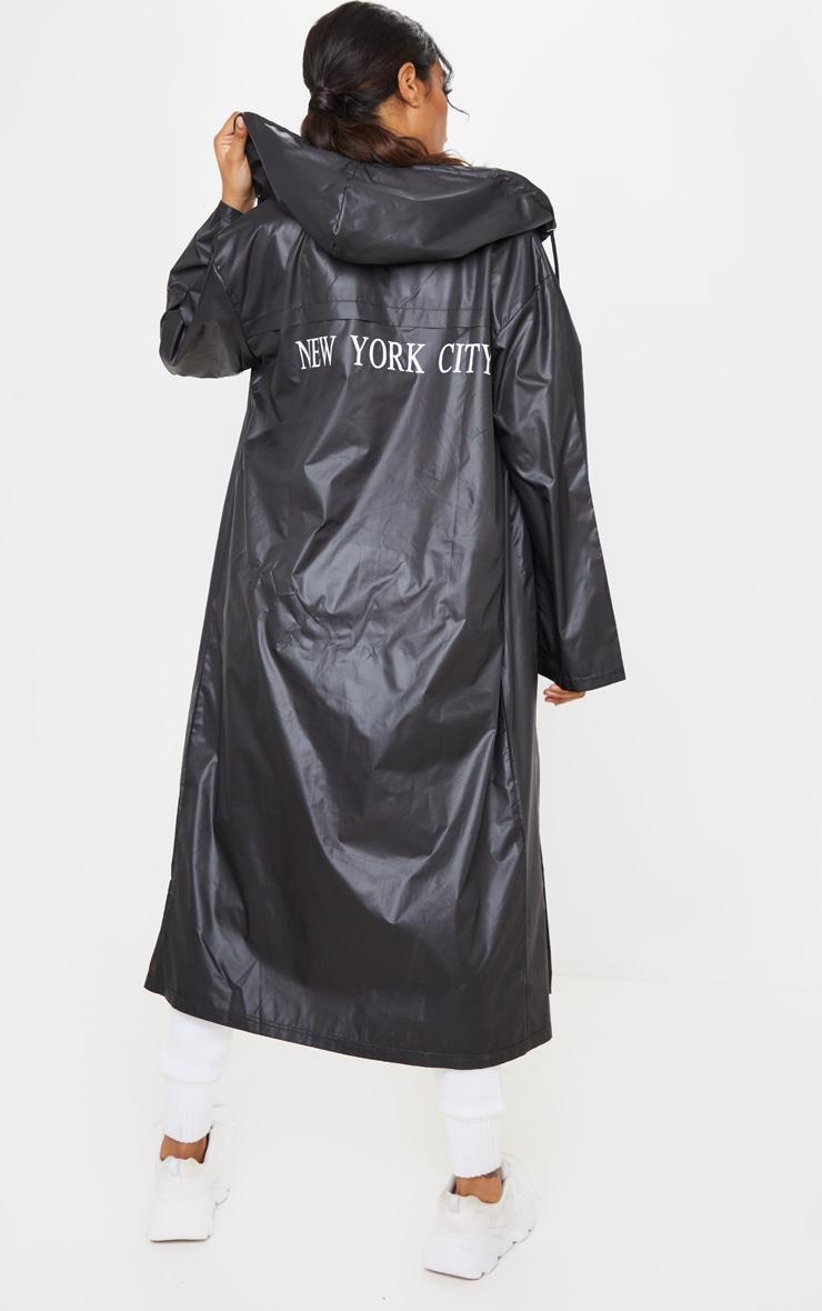 Black Slogan Hooded Windbreaker 1