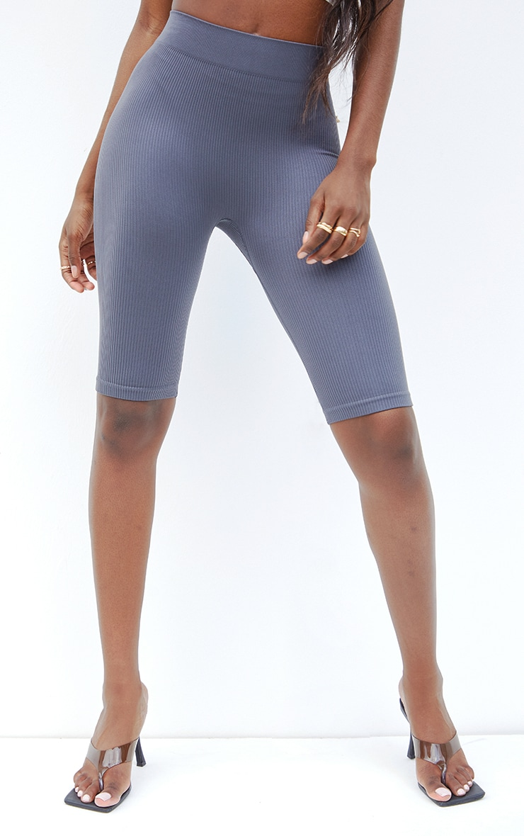 Tall  Grey Structured Contour Ribbed Cycle Shorts 2