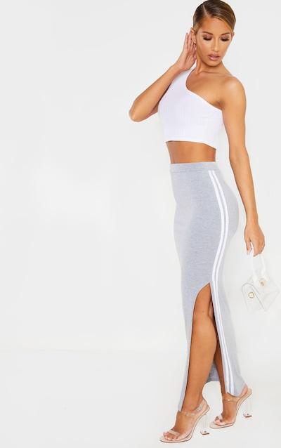 Grey Double Side Stripe Midaxi Skirt