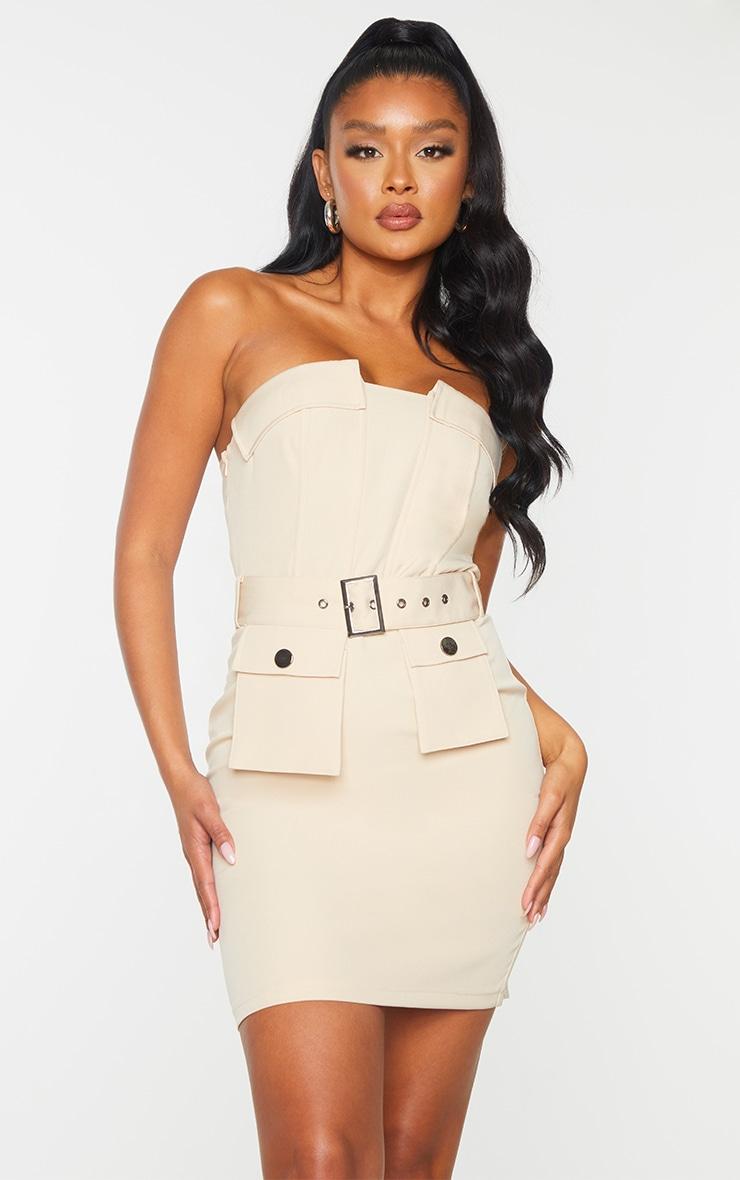 Nude Bandeau Belted Pocket Detail Bodycon Dress 1