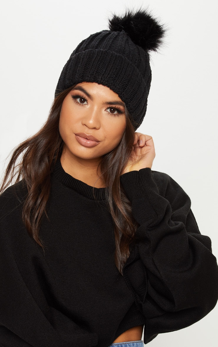 c1a9123b11a Black Knitted Faux Fur Bobble Hat image 1