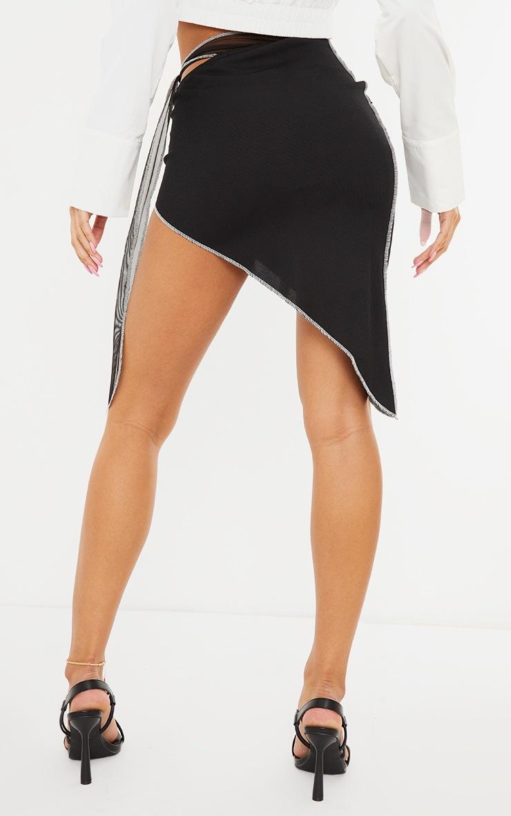 Black Contrast Stitch Asymmetric Midi Skirt 3