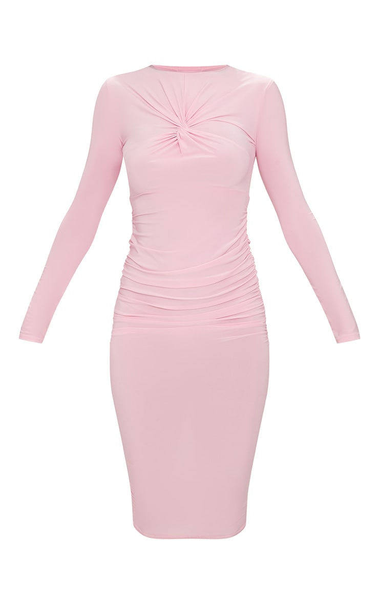 Baby Pink Long Sleeve Knot Front Midi Dress 4
