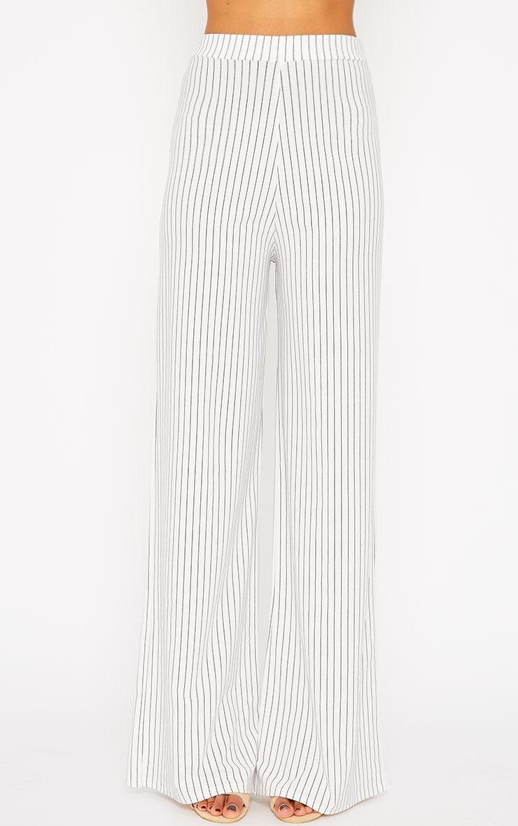 Zafia White Pinstripe Crepe Palazzo Trousers 4