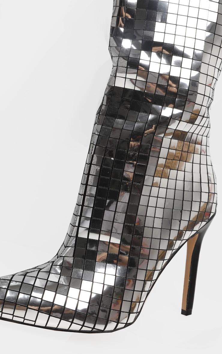 Silver Disco Ball Knee High Boot 4