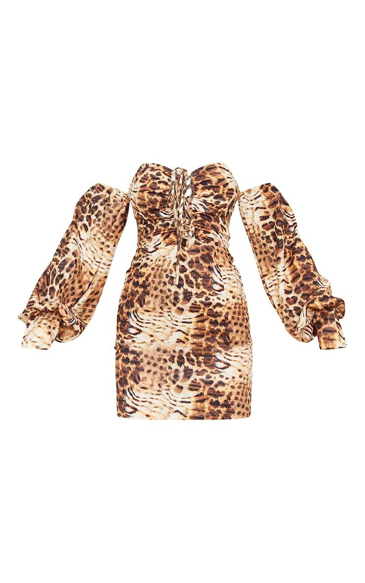 Brown Animal Print Bardot Balloon Sleeve Lace Up Bodycon Dress 5