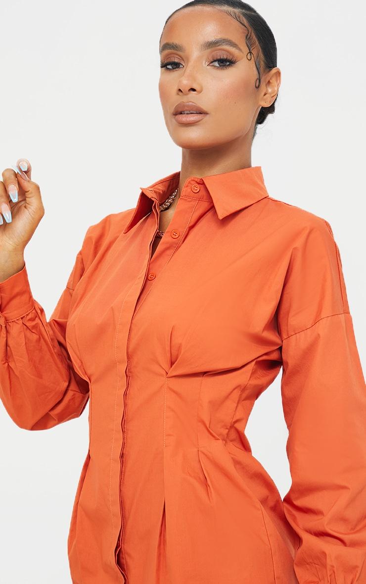 Rust Fitted Waist Shirt Dress 4