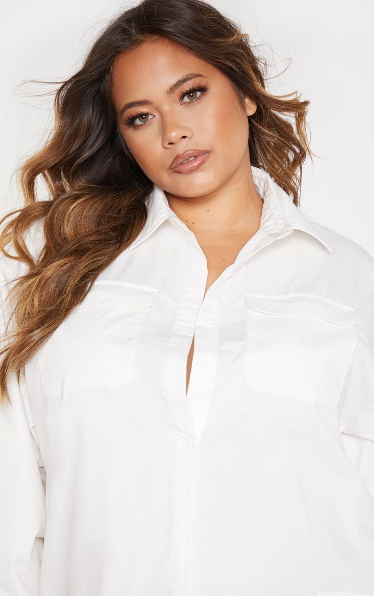 Plus White Pocket Detail Long Sleeve Shirt Dress 5