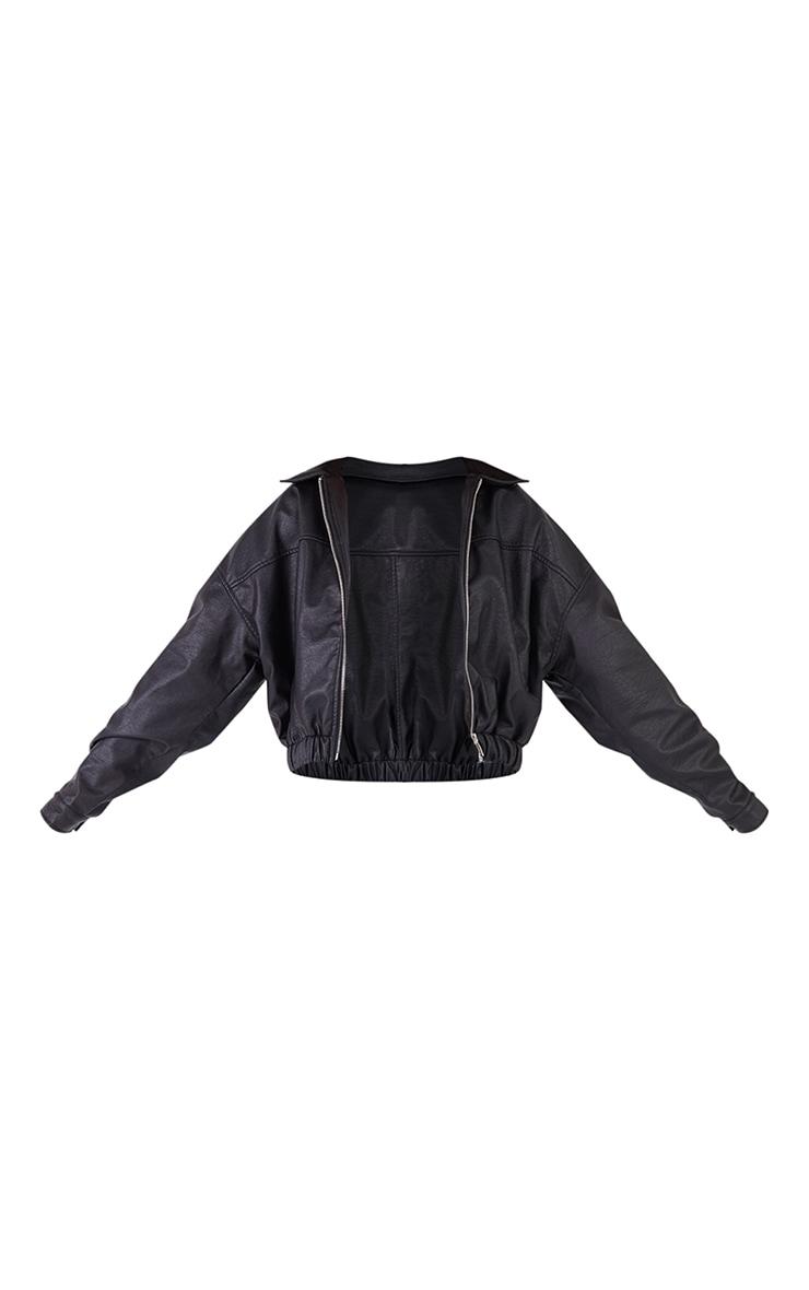 Black Faux Leather Bomber Jacket 5