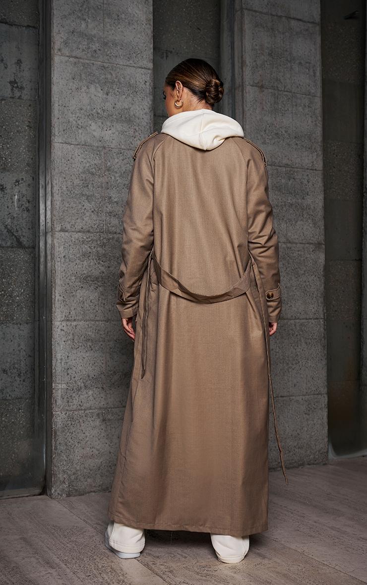 Beige Woven Oversized Trench Coat 2