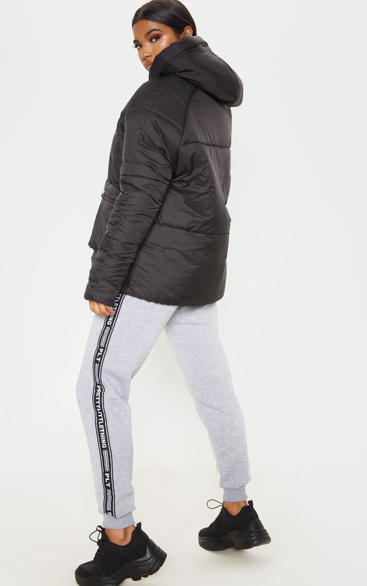 Black Pocket Front Hooded Puffer 2