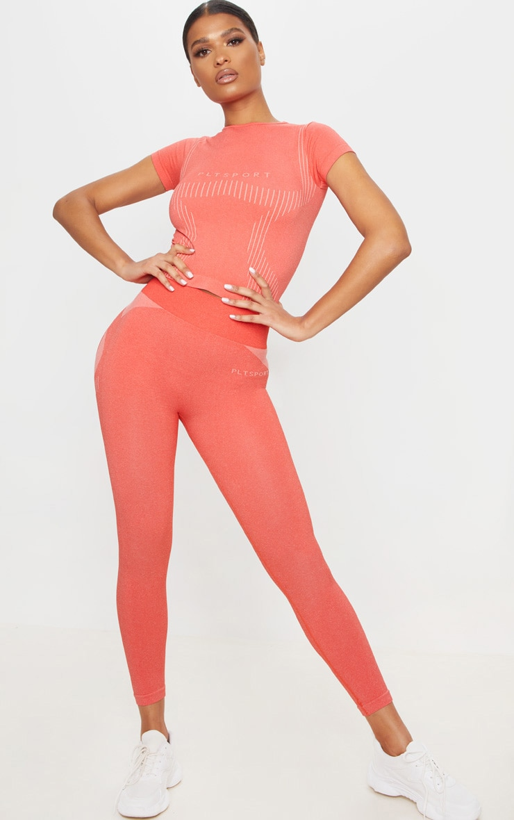 PRETTYLITTLETHING Coral Sport Seamless Contour T-Shirt 3