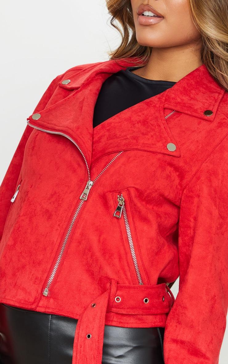 Red Faux Suede Biker Jacket 4