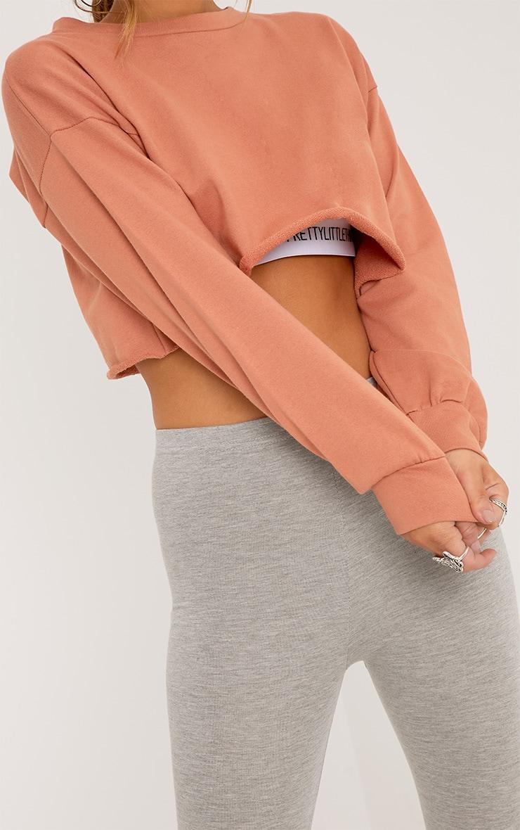Petite Beau Deep Peach Cropped Sweater  6