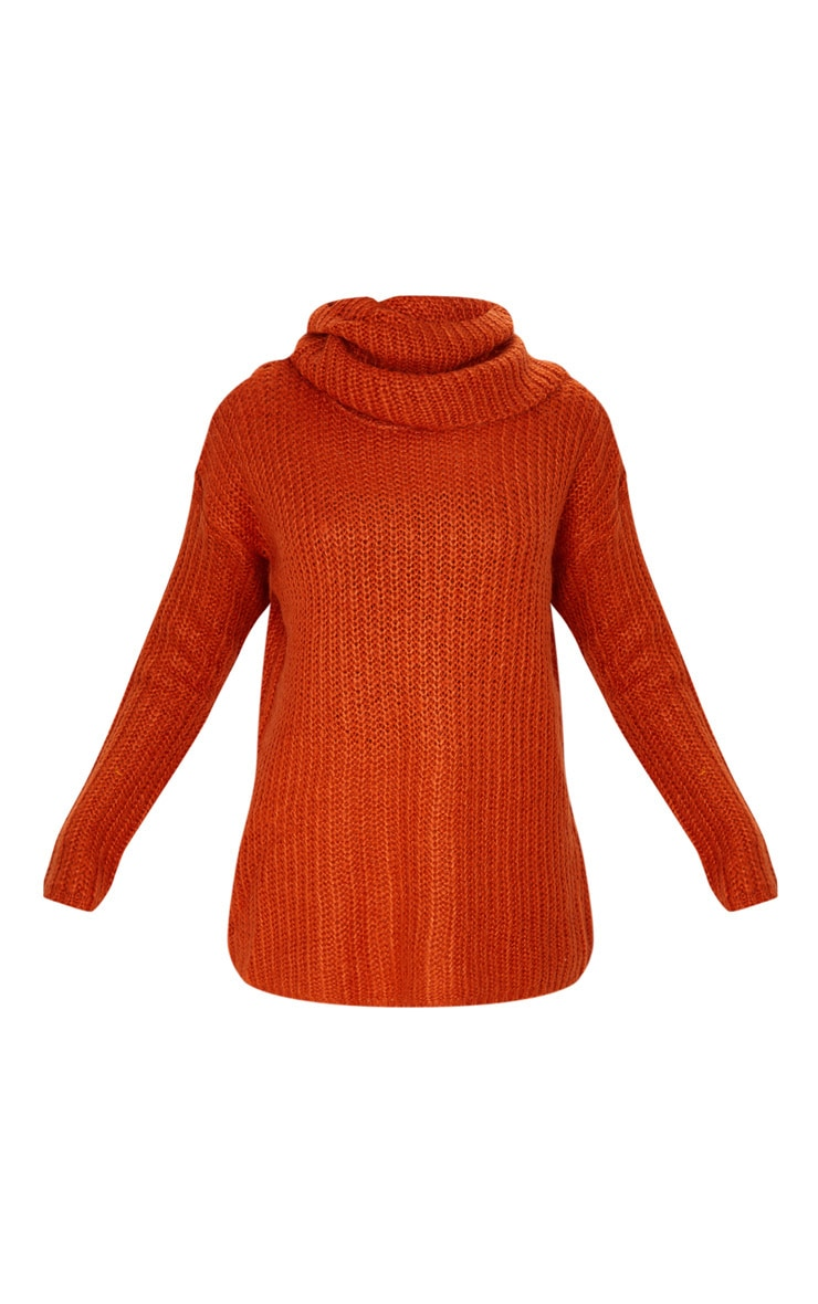 Rust Soft Knit Roll Neck Sweater 3