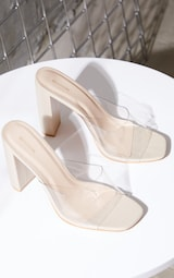 Nude Clear Strap High Block Heel Mules 4