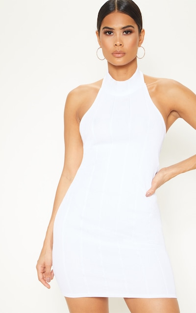 White High Neck Bandage Rib Bodycon Dress
