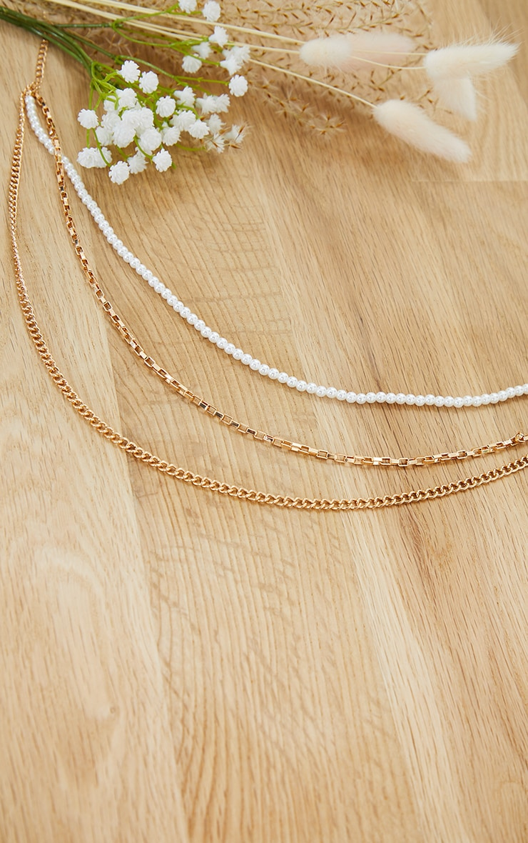 Gold Double Dainty Chain And Pearl Necklace 3