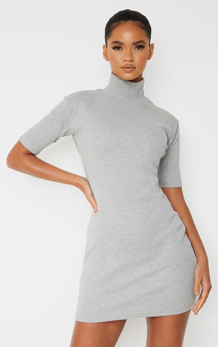 Grey Marl Rib High Neck Short Sleeve T Shirt Dress 1