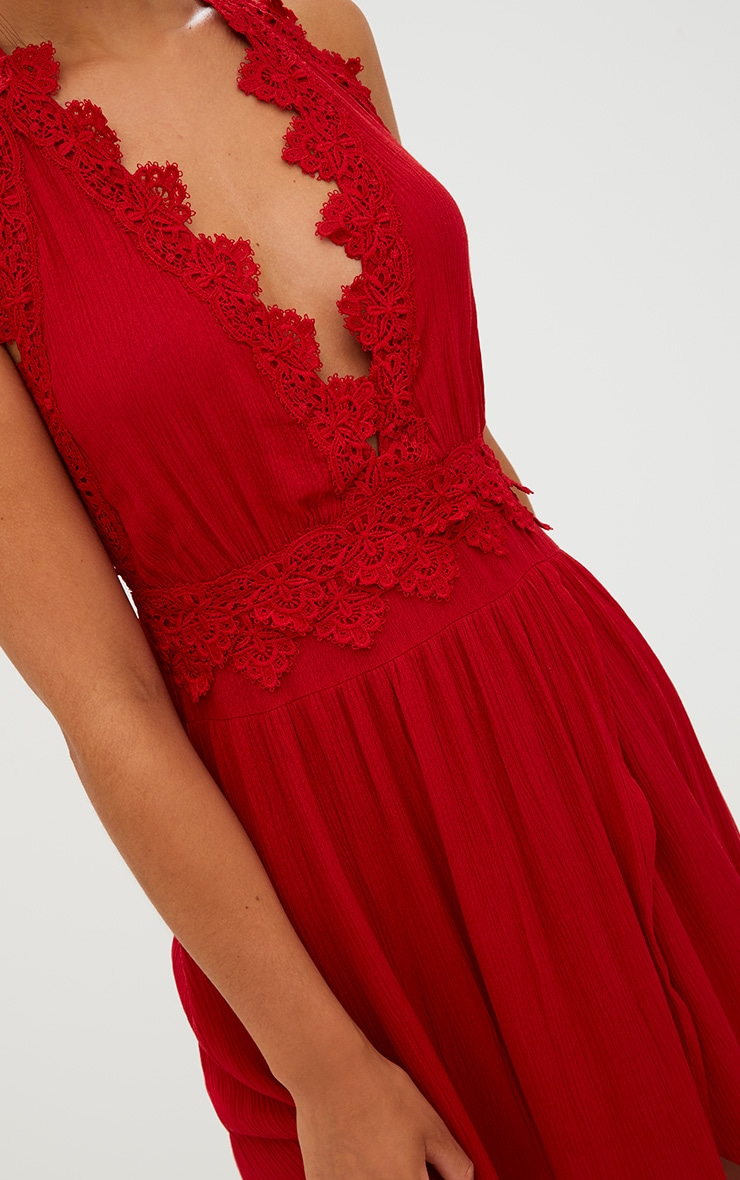Red Cheesecloth Crochet Trim Maxi Dress 5