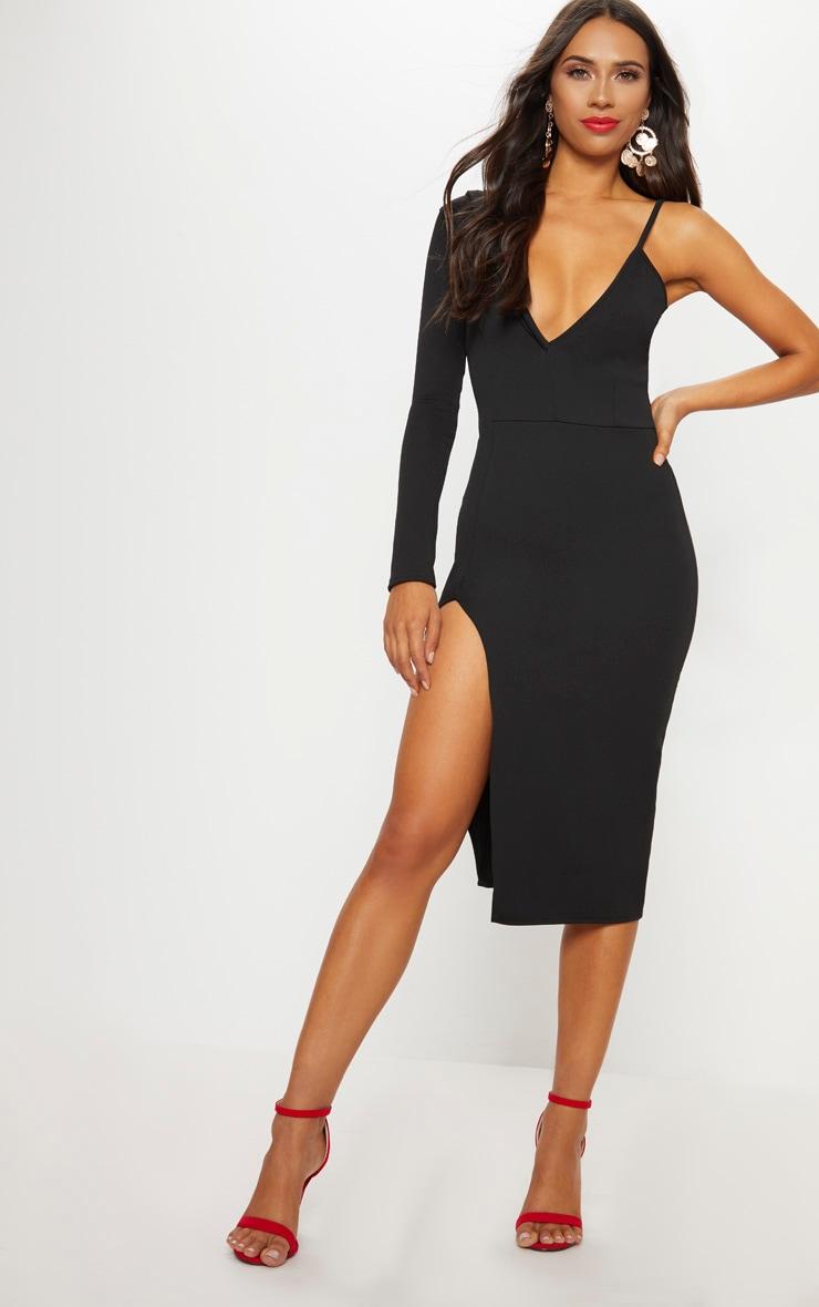 Black Asymmetric Tux Style Split Leg Midi Dress 1