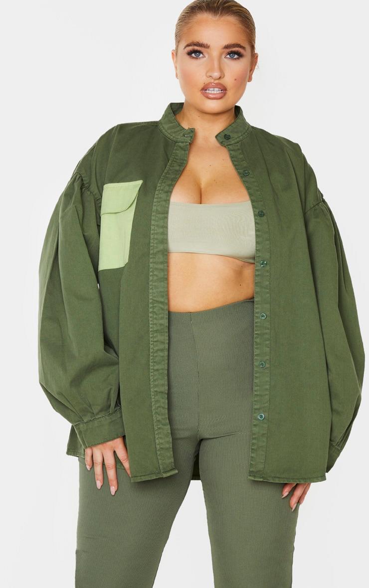 Plus Washed Khaki Puff Sleeve Contrast Pocket Shirt 1
