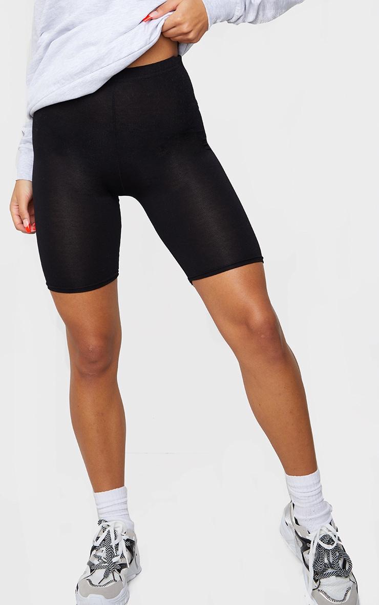 Basic Black Cotton Blend Cycle Shorts 2