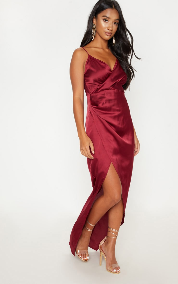 Petite Burgundy Satin Wrap Detail Maxi Dress 1