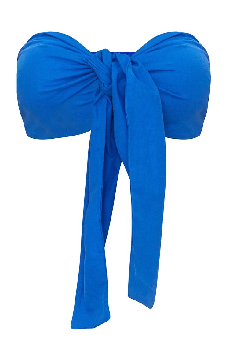 Blue Tie Front Bandeau Crop Top  3