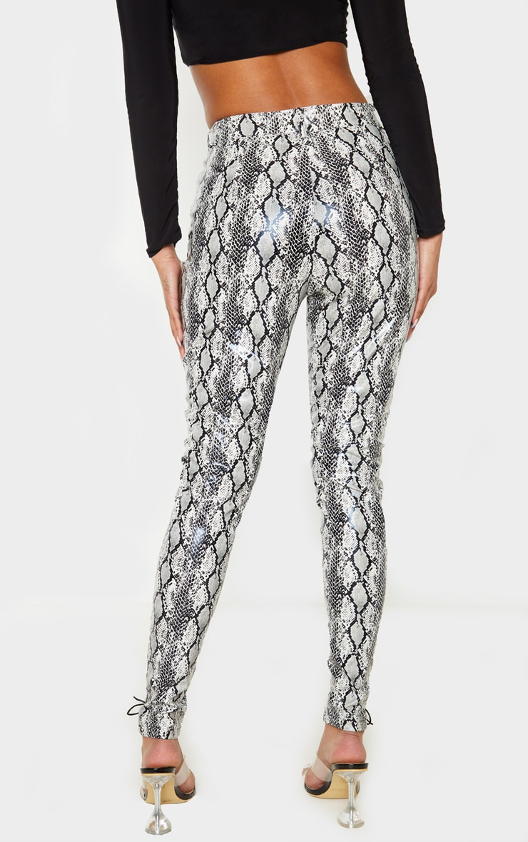 Black Lace Front Snake PU Skinny Trousers 3