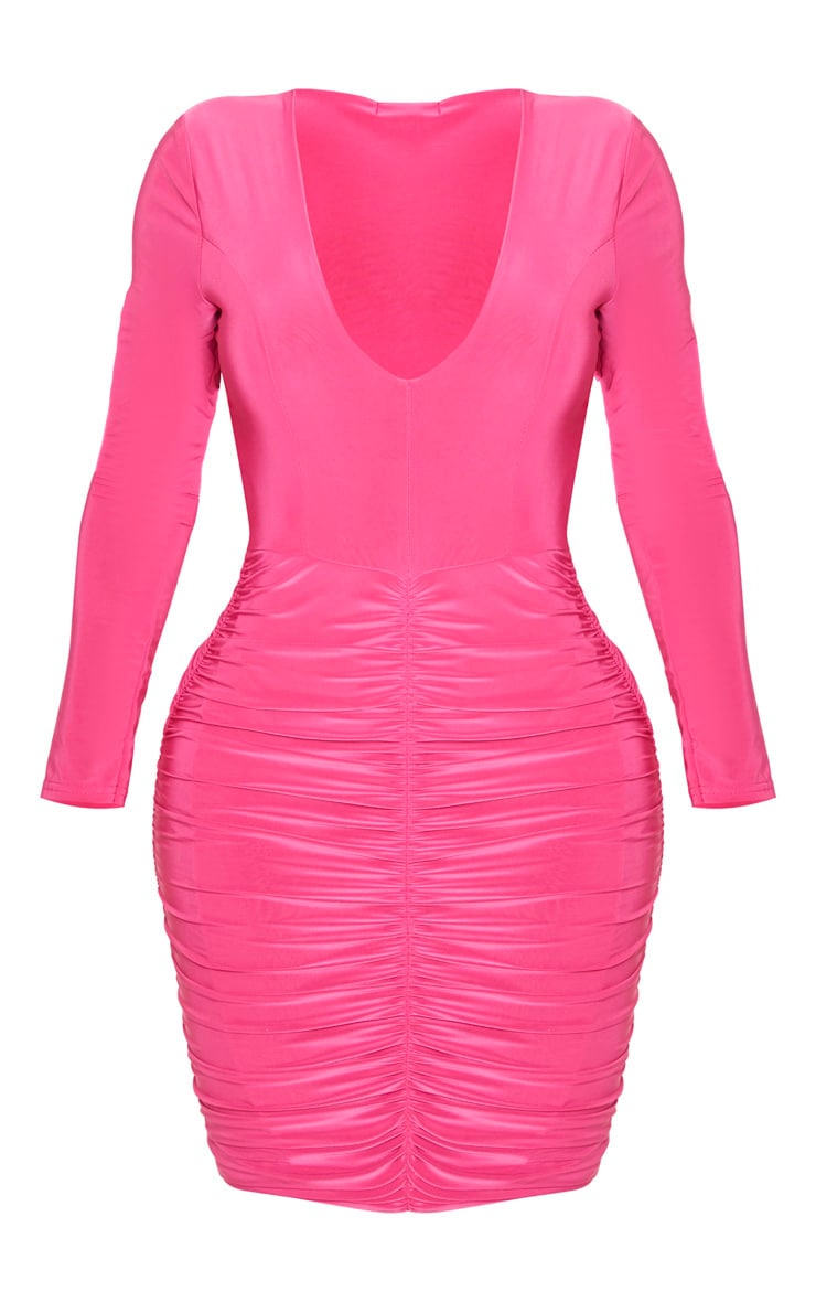 Shape Fuchsia Slinky Ruched Mini Dress 5