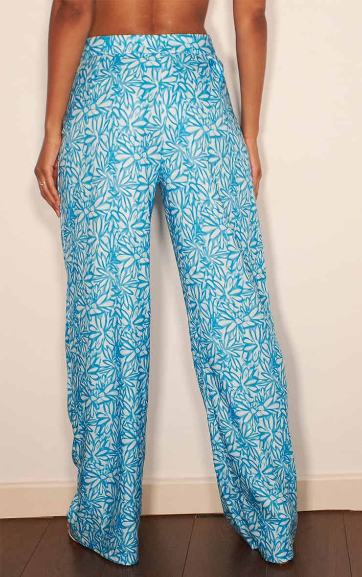 Blue Floral Print Wide Leg Pants 3