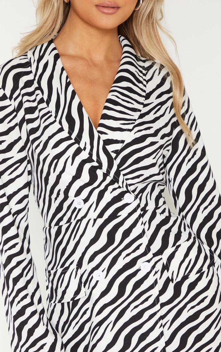 Tall Zebra Long Sleeve Blazer Double Button Dress 5