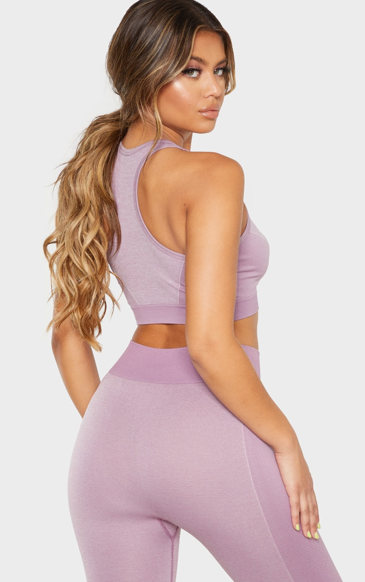 Lilac Seamless Contrast Side Sports Bra 2