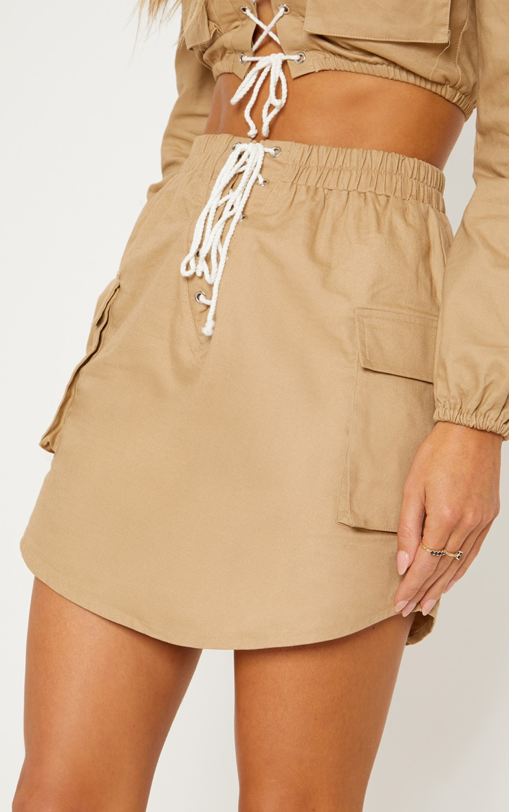 Stone Lace Front Cargo Mini Skirt 7