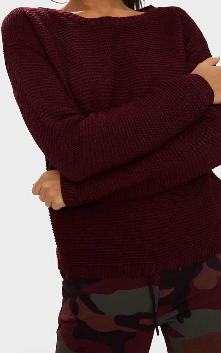 Burgundy Rib Crop Jumper 5