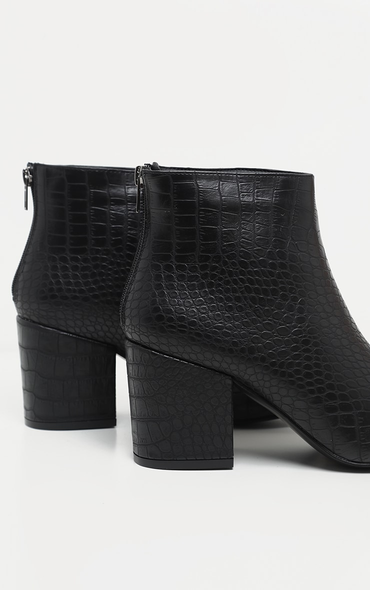 Black Croc Zip Back Ankle Boot 4